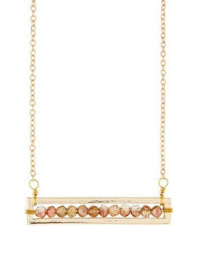 Copper Crystal Bar Pendant Necklace, Brown/Orange