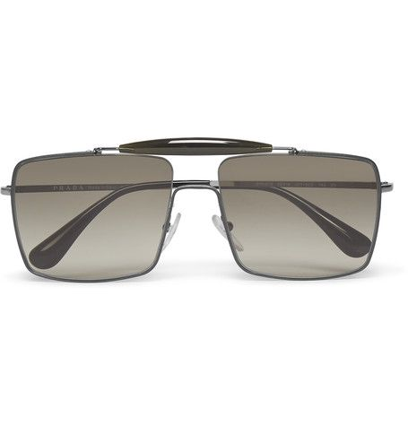 f4adfcdf1af0 PRADA Square-Frame Silver-Tone Sunglasses.  prada  sunglasses ...
