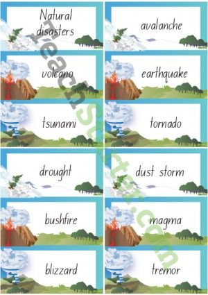 Natural Disaster Word Wall Vocabulary Natural Disasters Word Wall Science Teaching Resources