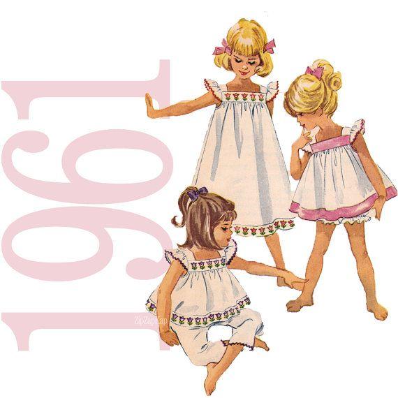 1960s Toddler Nightgown Bloomers Vintage Pattern - B21 - McCalls 5912 - 60s Toddler Pajamas, Nightgown Sewing Pattern