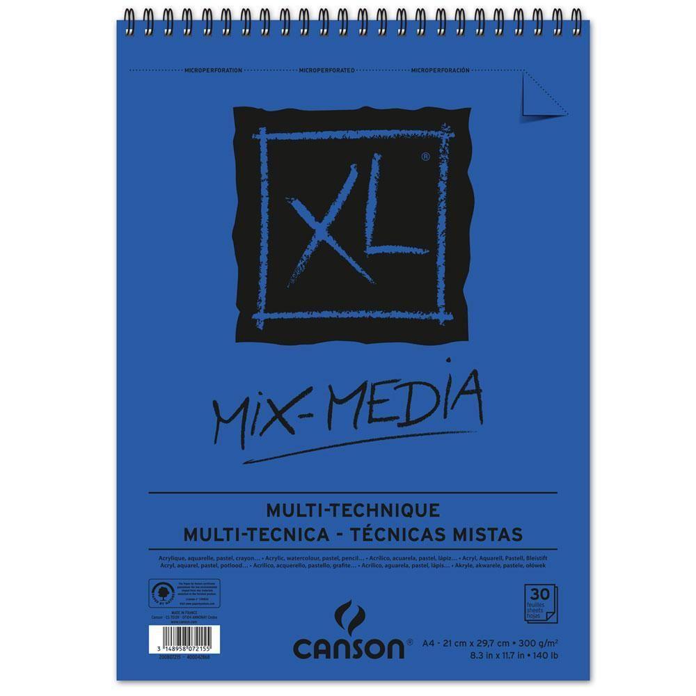 Bloco Espiralado Canson Xl Mix Media 300g M A4 21 X 29 7 Cm Com