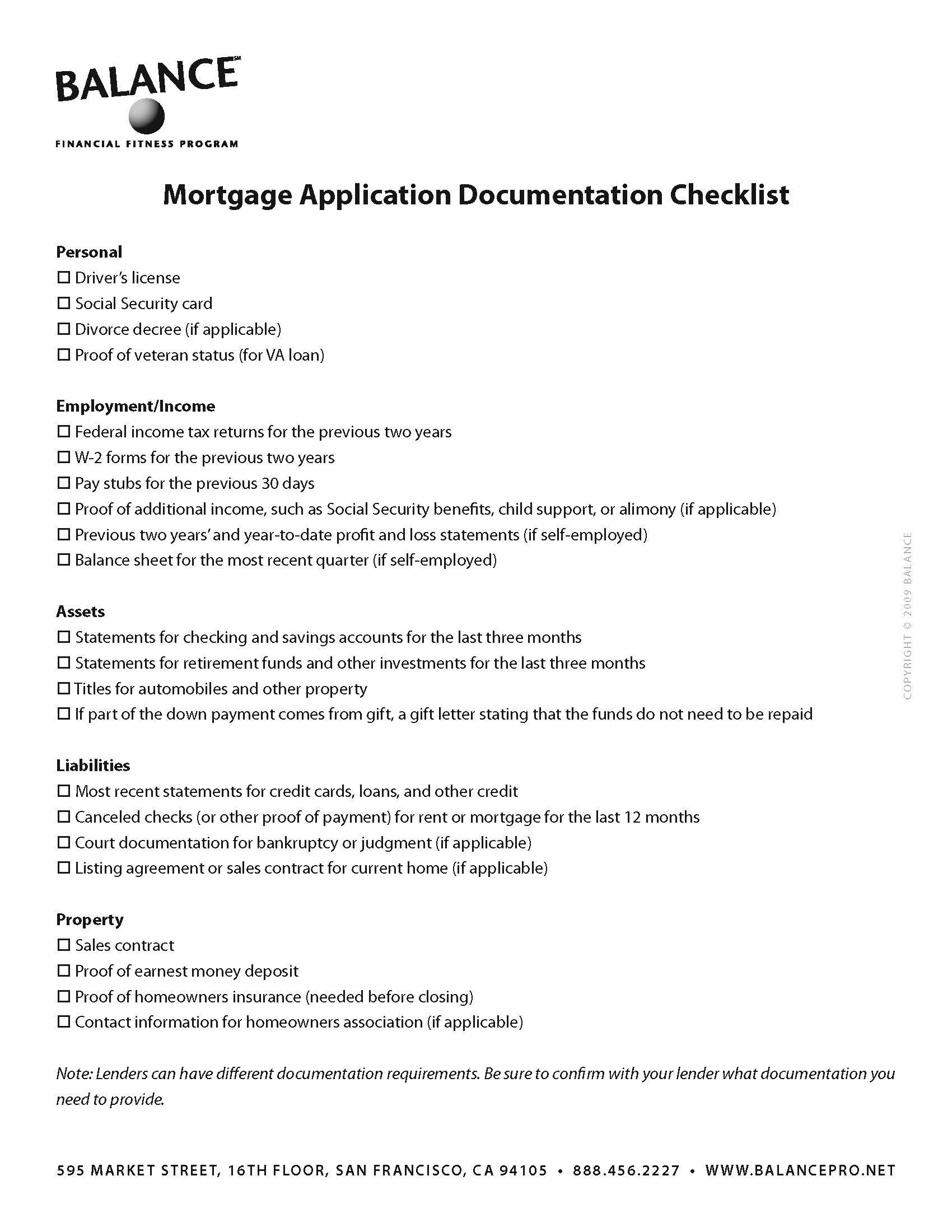 Mortgage Application Documentation Checklist Are You Planning To
