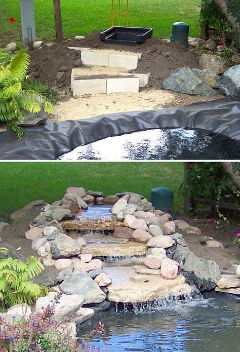 DIY garden waterfall projects Garden ideas - Diyprojectgardens.club#diy #diyprojectgardensclub #garden #ideas #projects #waterfall
