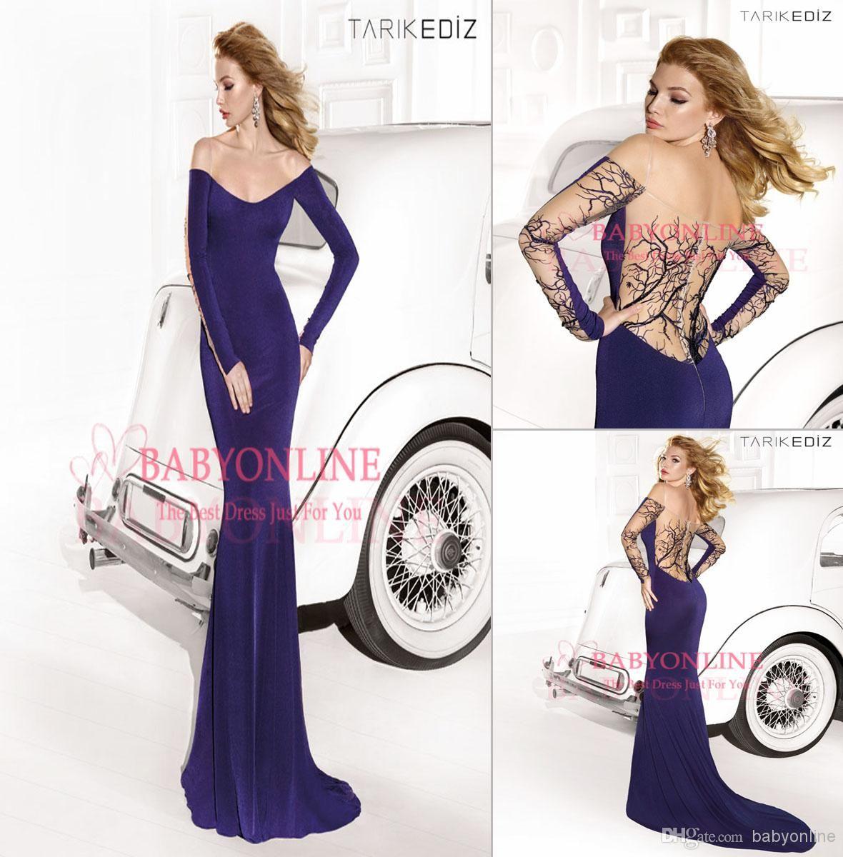 Elegant tarik ediz evening dresses sexy royal blue off shoulder