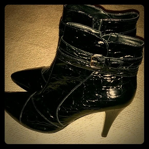 """Antonio Melani faux patent croc stamped booties Side zip closure. Side buckle detail. Classic silhouette. Very gently worn. Small scratch near bottom of heel closest to  sole on left boot. Not noticeable. 3.5"""" heel. ANTONIO MELANI Shoes Ankle Boots & Booties"""