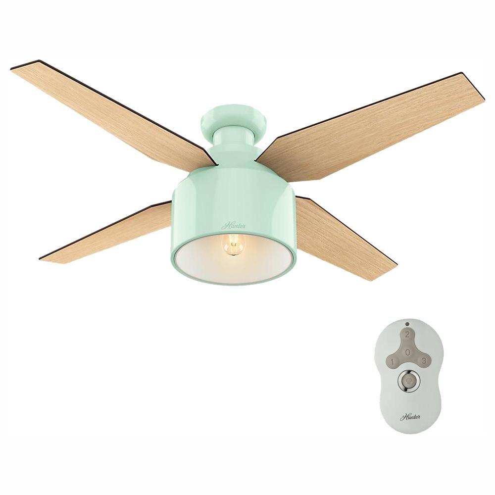 Hunter Cranbrook 52 In Led Low Profile Indoor Mint Ceiling Fan 59260 Ceiling Fan Pink Ceiling Fan Light Bulb Bases