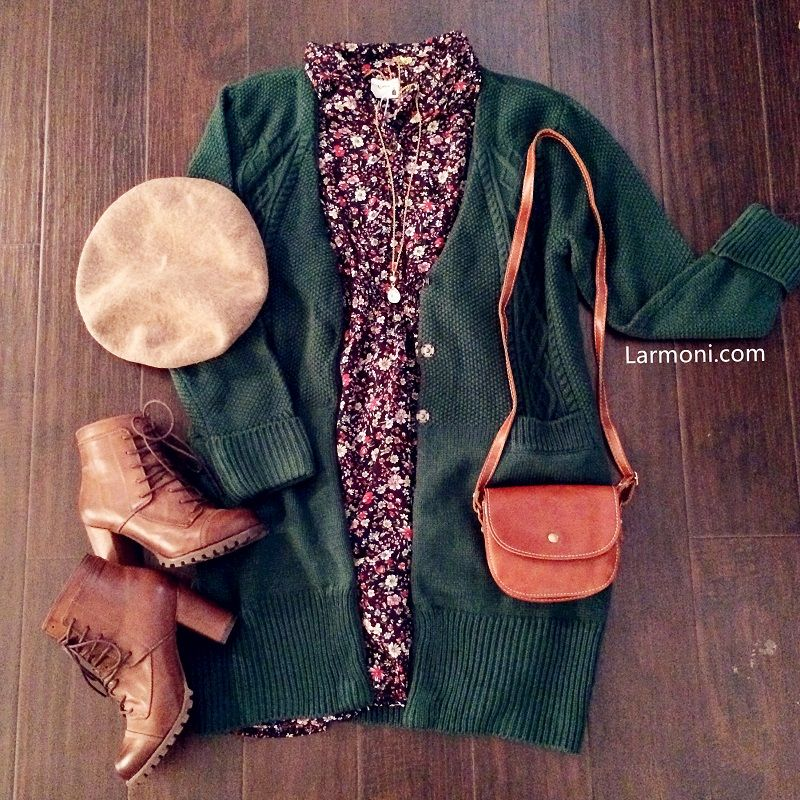Chunky Cable Knit Green Cardigan : The Art of Vintage-inspired & Cute Women's Clothing | Larmoni