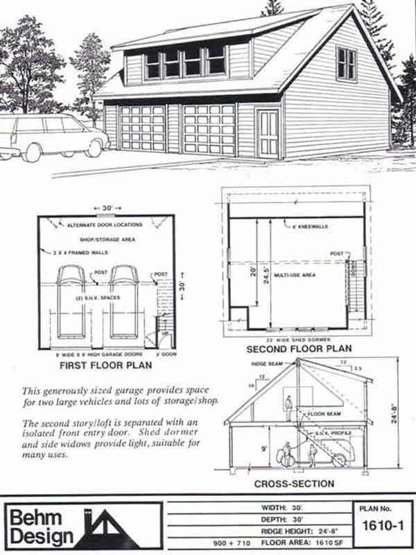 Two Car Garage With Shed Roof Loft Plan 1610 1 30 X By Behm Design
