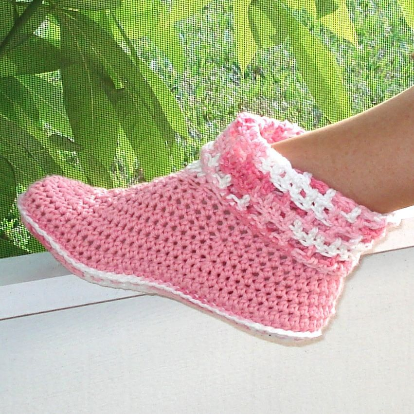 Free Crochet Slipper Patterns | Crochet Pattern Slippers Cuffed ...