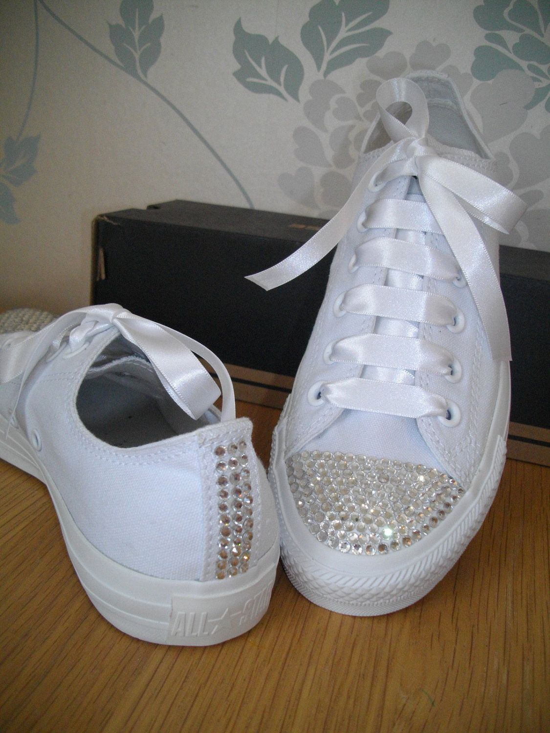 1ecc3cde5185 Adults White Leather SWAROVSKI crystal converse all sizes available from  size 4UK (eu37). £70.00