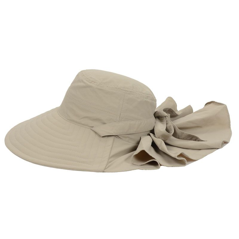 a246498753cc5 BEIGE Foldable Large Wide Brim Hat Windproof Caps For Lady Elegant Hats  Beach Sun Hat Vacation