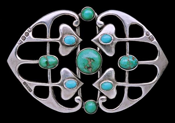 Buckle | Murrle Bennett  Co.  Sterling silver and Turquoise.  c. 1902, German