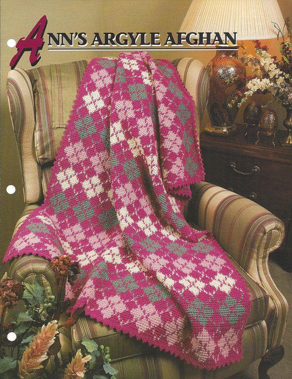 Pattern Afghan Blanket Crochet Ann's Argyle by KnitKnacksCreations