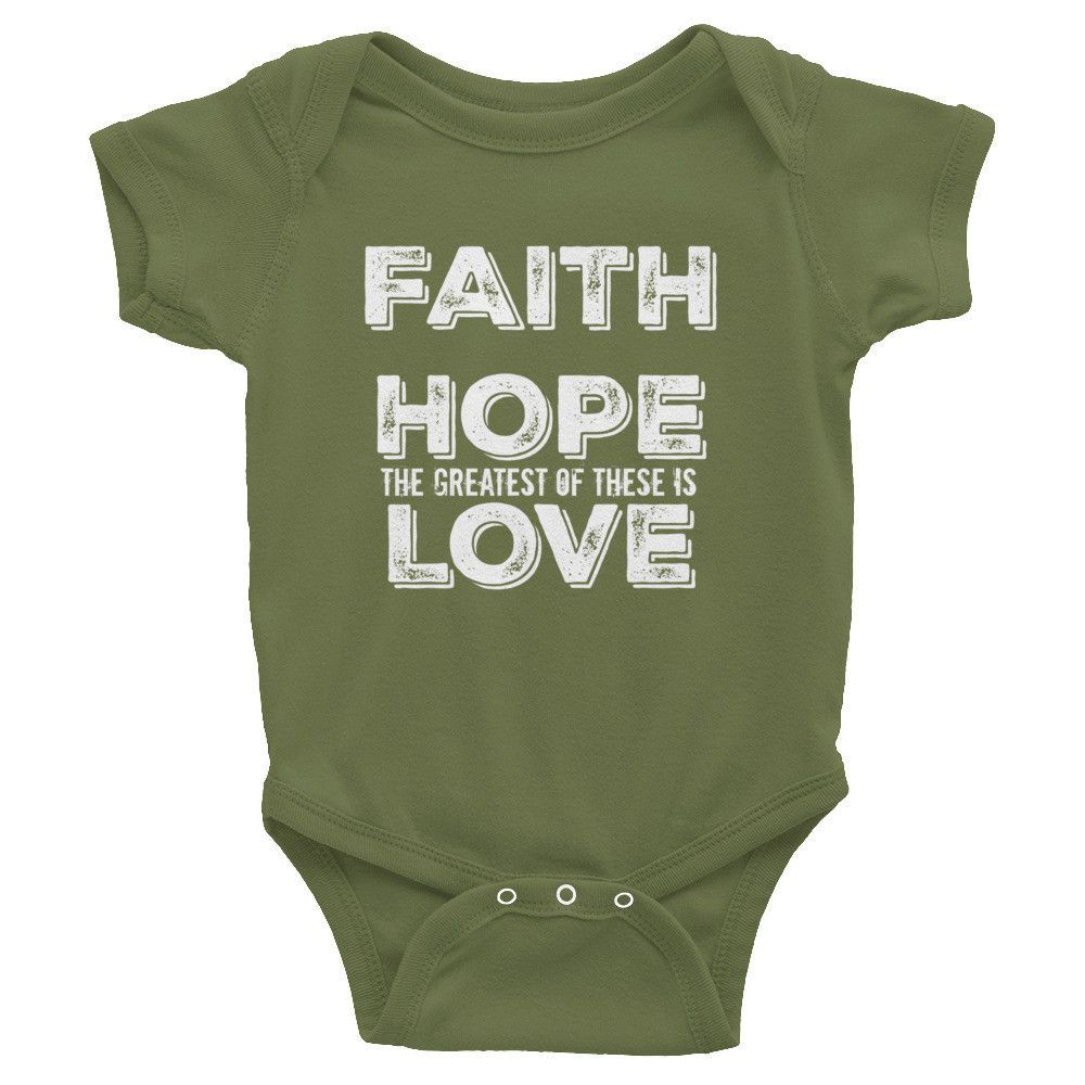 Faith Hope The Greatest of these is Love Christian Infant short sleeve one-piece (White Lettering)