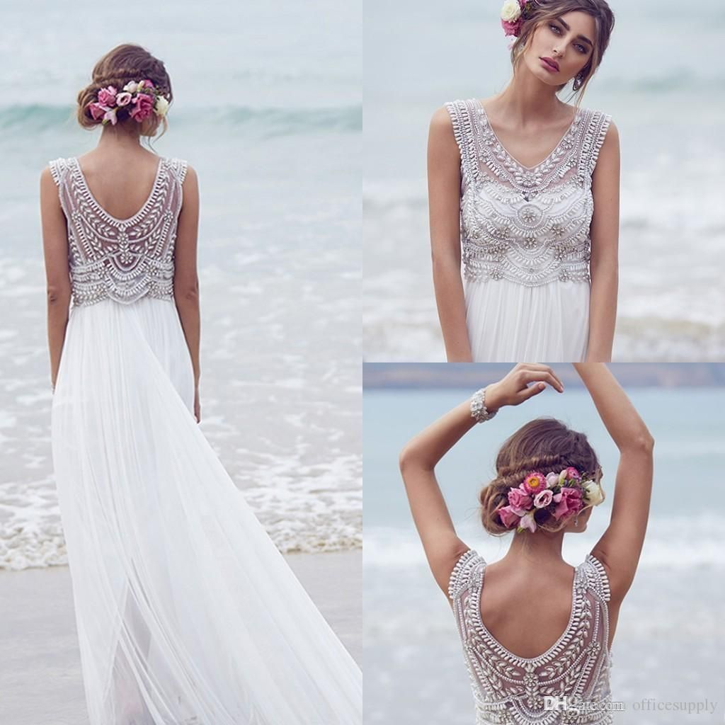 Cheap 2015 Spring Bohemian Wedding Dress V Neck A Line Split Side ...