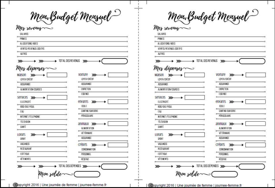 Très Imprimé pour planner : Mon budget mensuel     Une journée de femme  AN78