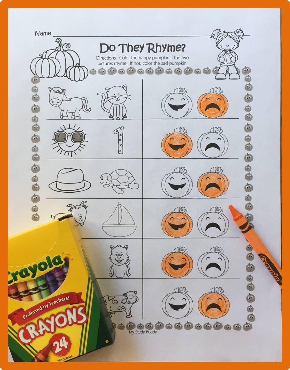 Halloween Rhyming Worksheets (Halloween Activities for