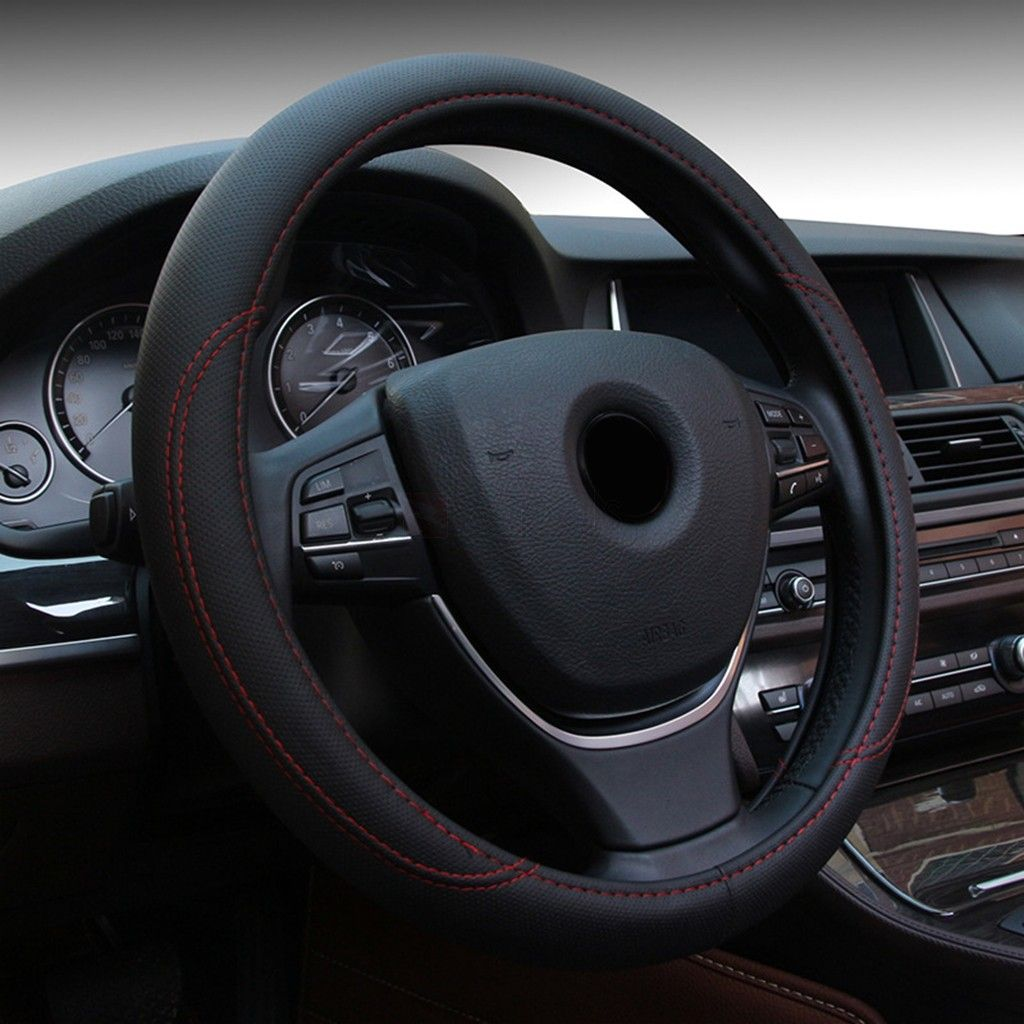 Universal 38cm Leather Car Steering Wheel Cover. DIY your