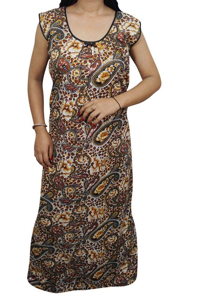 b55bca2a11 Indiatrendzs Women Sleeveless Night Wear Cotton Printed Brown Maxi Nighty  44