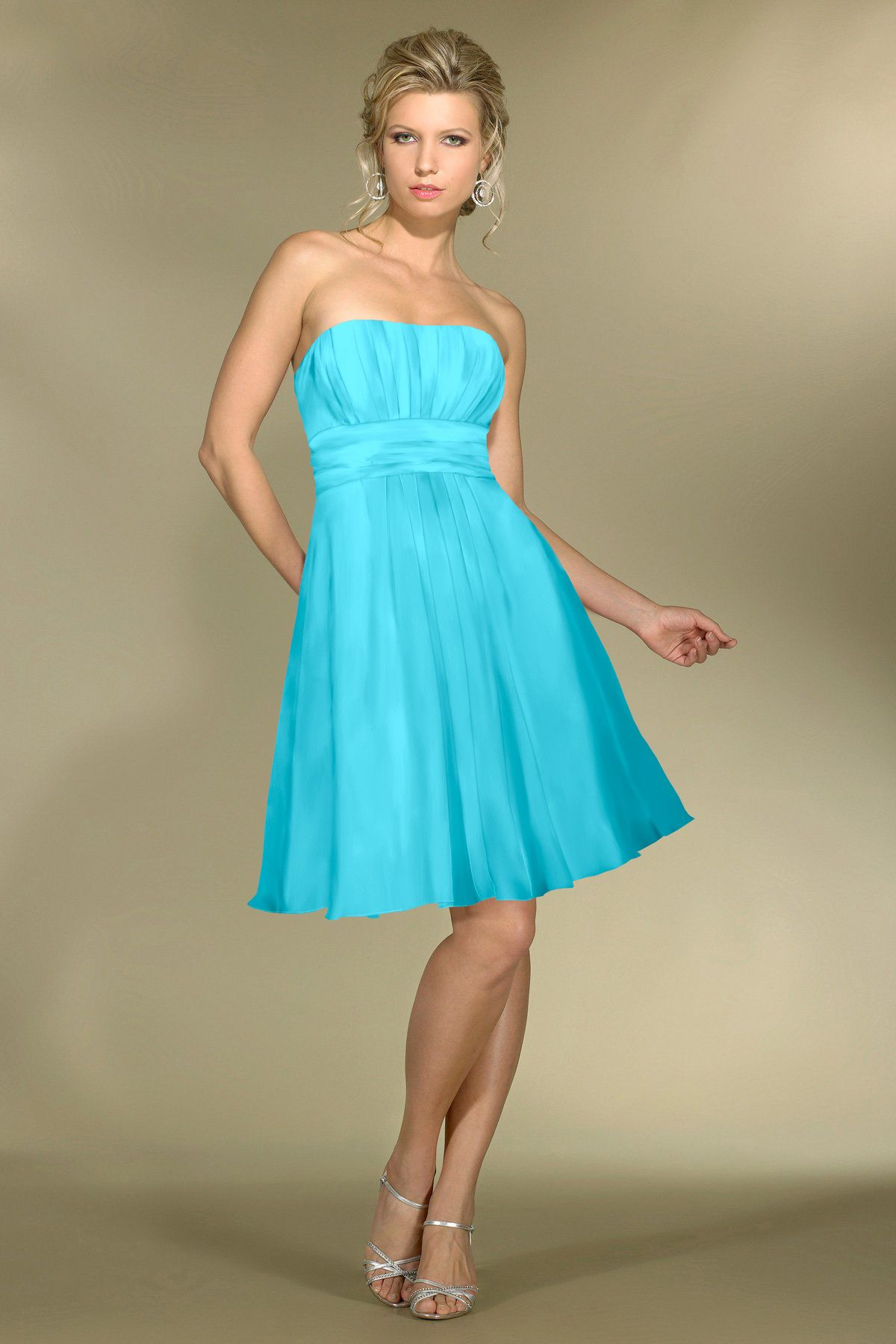 Chiffon gatheredstrapless style c bridesmaid dress by alexia
