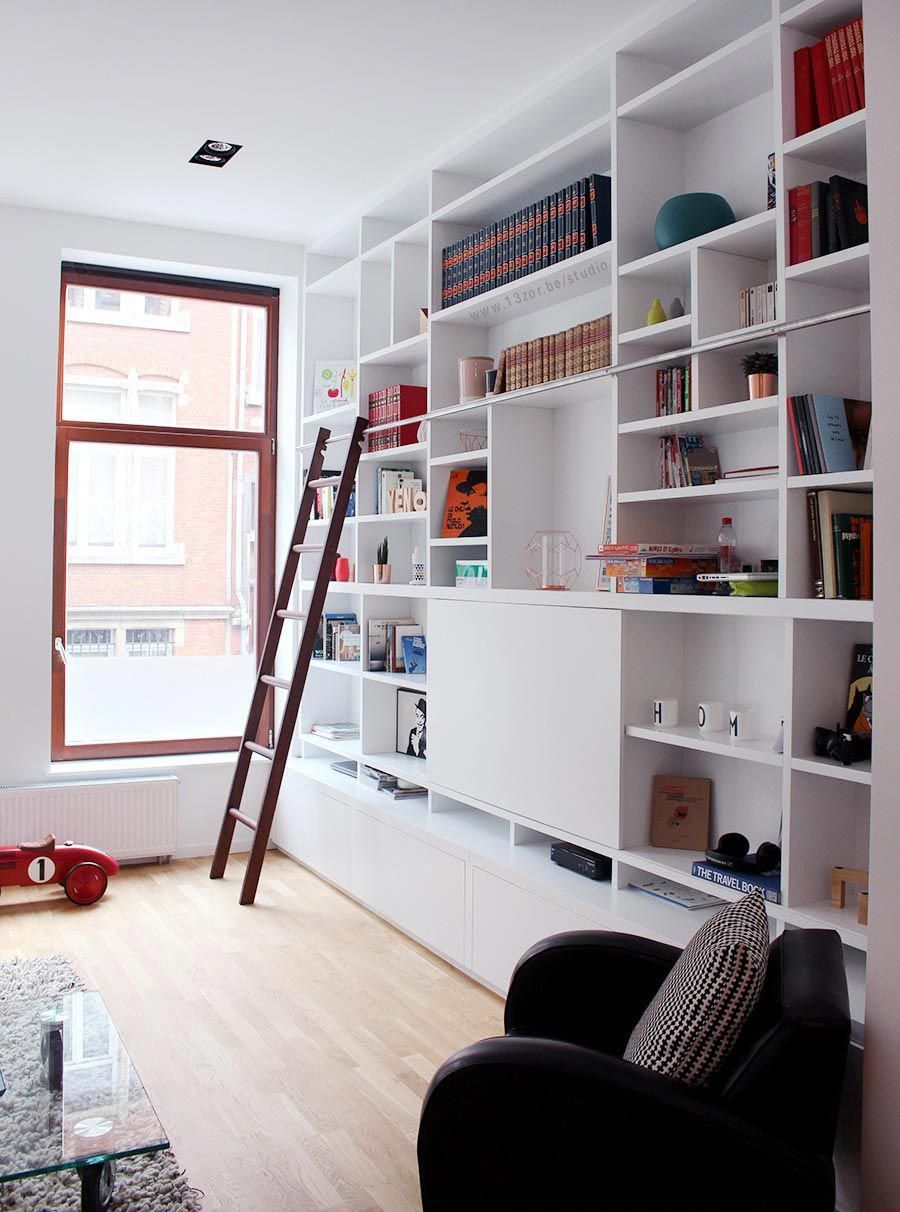 custom built in shelves library- living room, bibliothèque sur