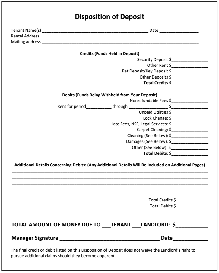 How To Use The Disposition Of Deposit As A Landlord With