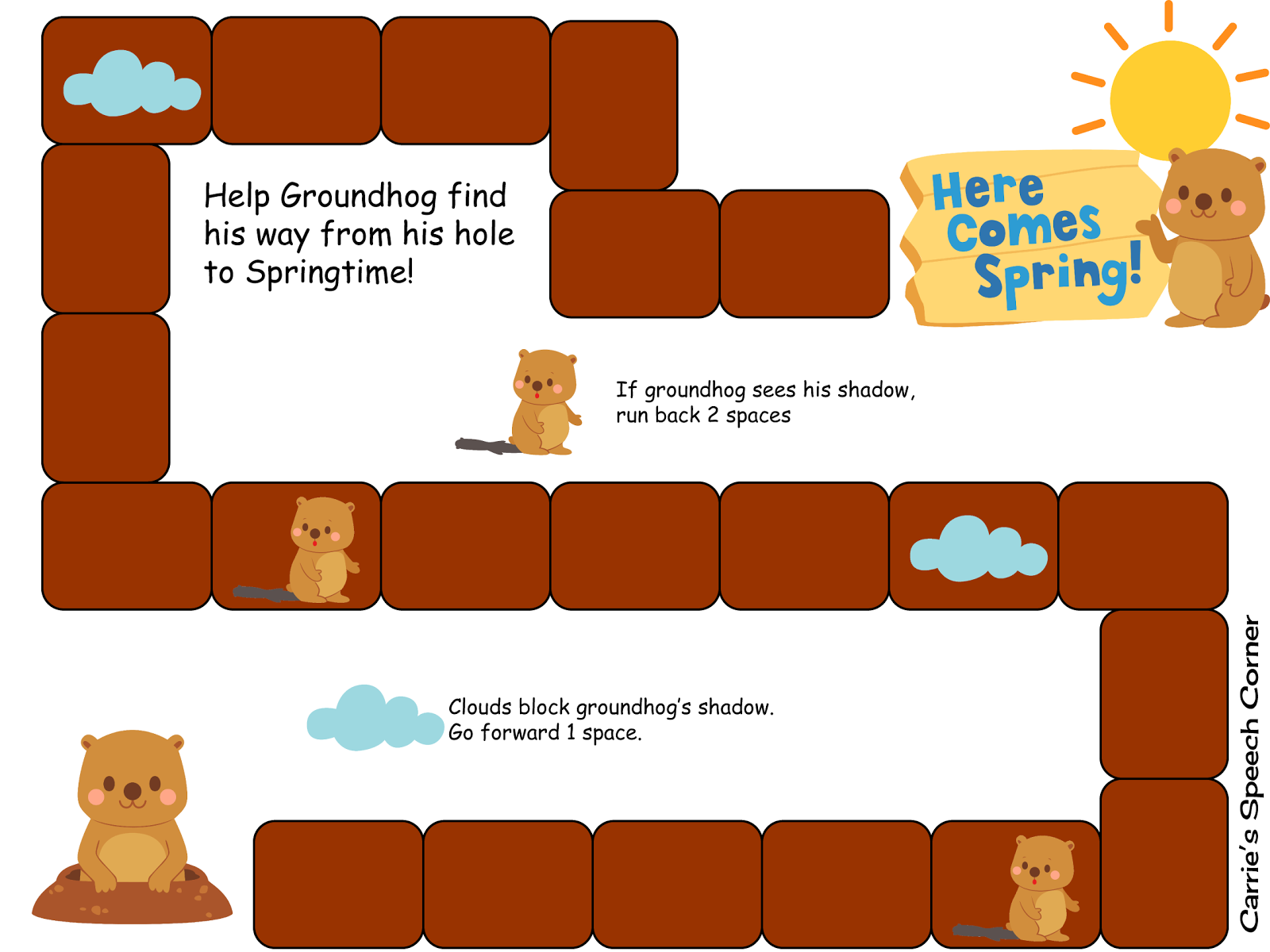 Carrie S Speech Corner Freebies Help Groundhog Find His