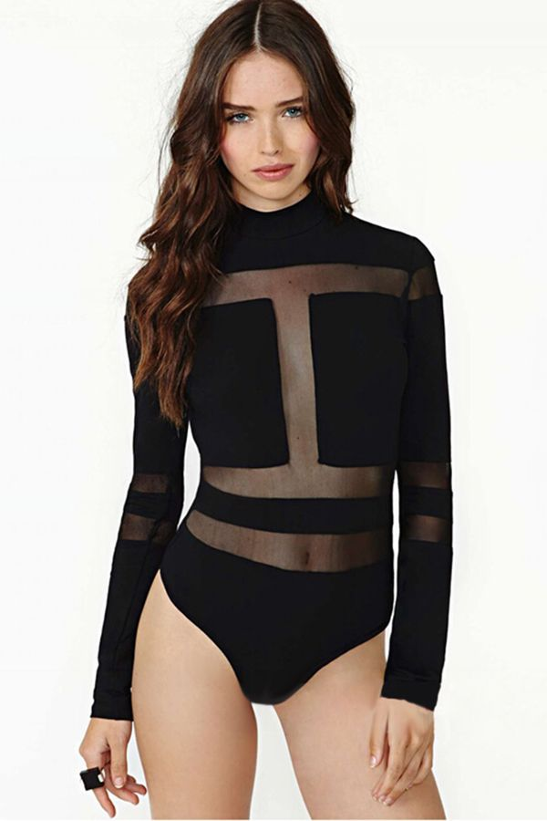 4d9bf0a53f9f Black Sheer Ladies Sexy Long Sleeves High Neck Zipper Bodysuit ...