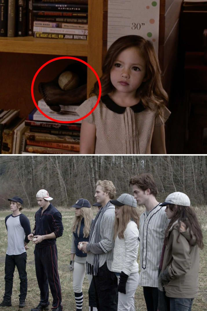 """A baseball is seen on a bookshelf at the Cullens' house in Breaking Dawn – Part 2 — this is a nod to the game of baseball they play in the first film. Here Are 19 Little Details From The """"Twilight Saga"""" You Probably Missed"""