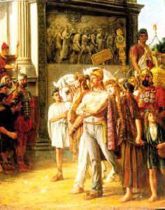 King Caradoc being taken captive through Rome's streets.  Painting by Thomas Davidson
