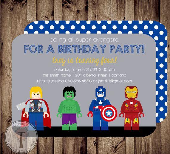 AVENGERS Birthday Invitation thor captain america hulk
