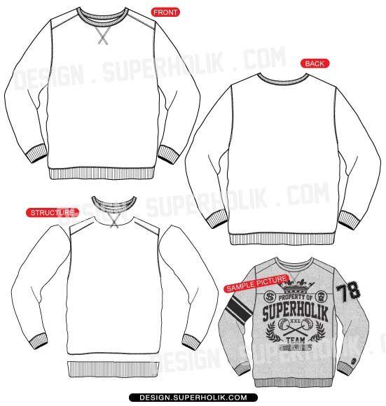 Fashion design templates, Vector illustrations and Clip-artsCrew neck sweatshirt template vector long sleeve shirt template