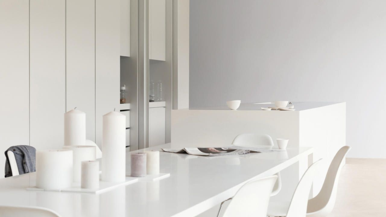 Add warmth to a minimalist white kitchen with accents of pale ...