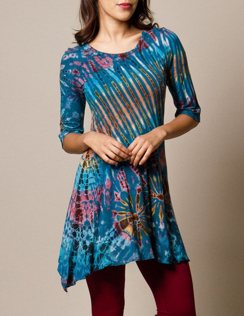 Dress with flannel around waist  TieDye  Sleeve Tunic  Tunics Stretch fabric and Flannel outfits