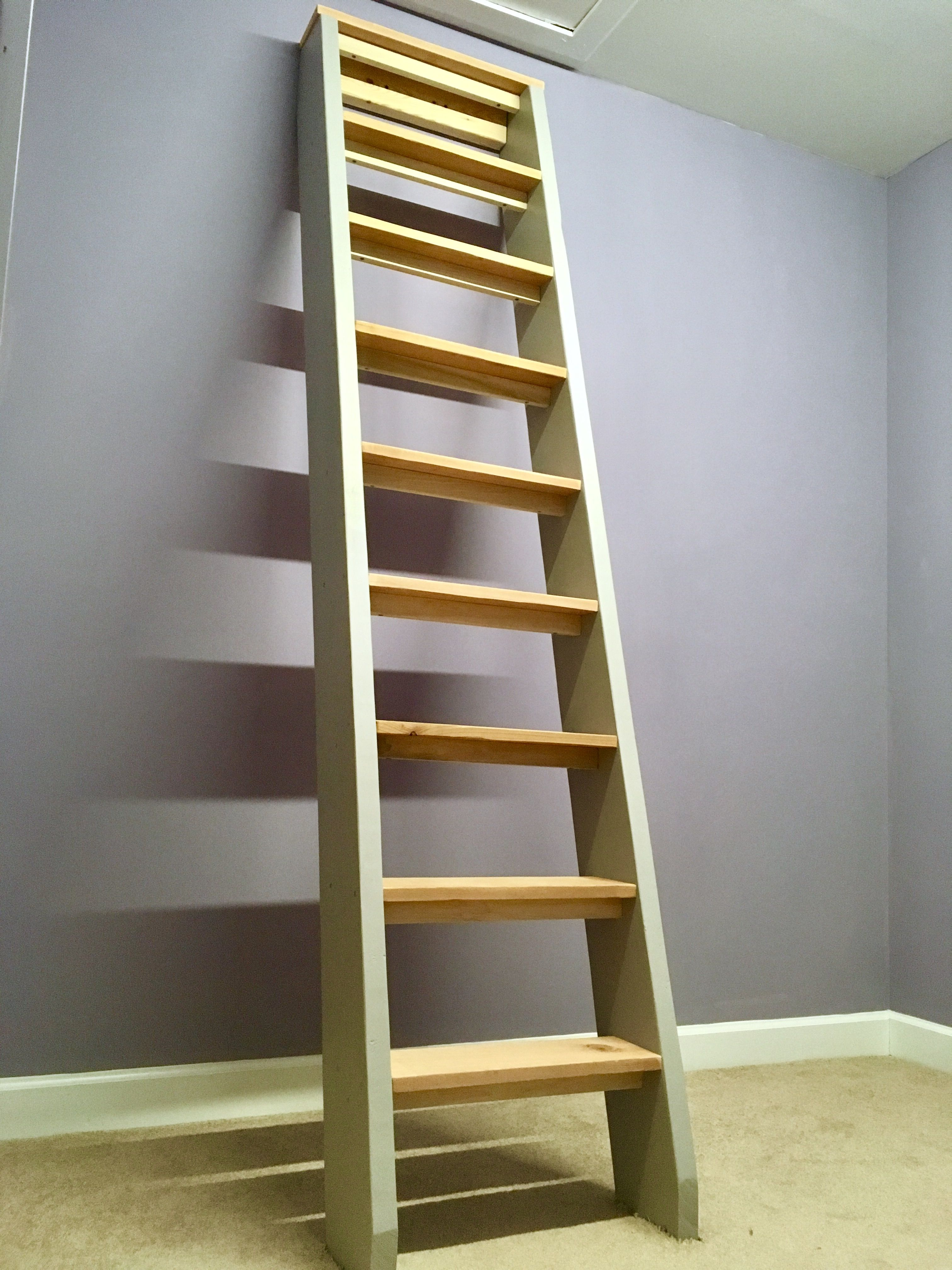 Permanent Ladder To The Attic Access. Cedar, Poplar And Pine. Anchored At  Top