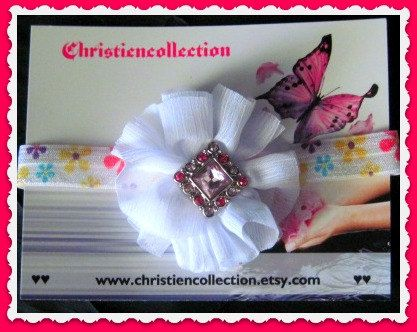 Baby Shabby Chic Foe Elastic hairband by christiencollection