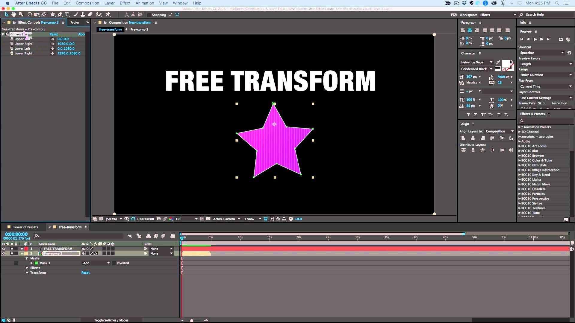 How To Free Transform Warp In After Effects Vfx Tutorial After Effects After Effect Tutorial