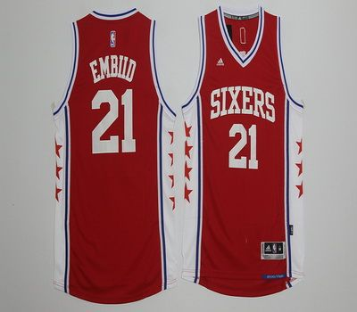 NBA Philadelphia 76ers 21 Joel Embiid Red Basketball Jersey  490caba70