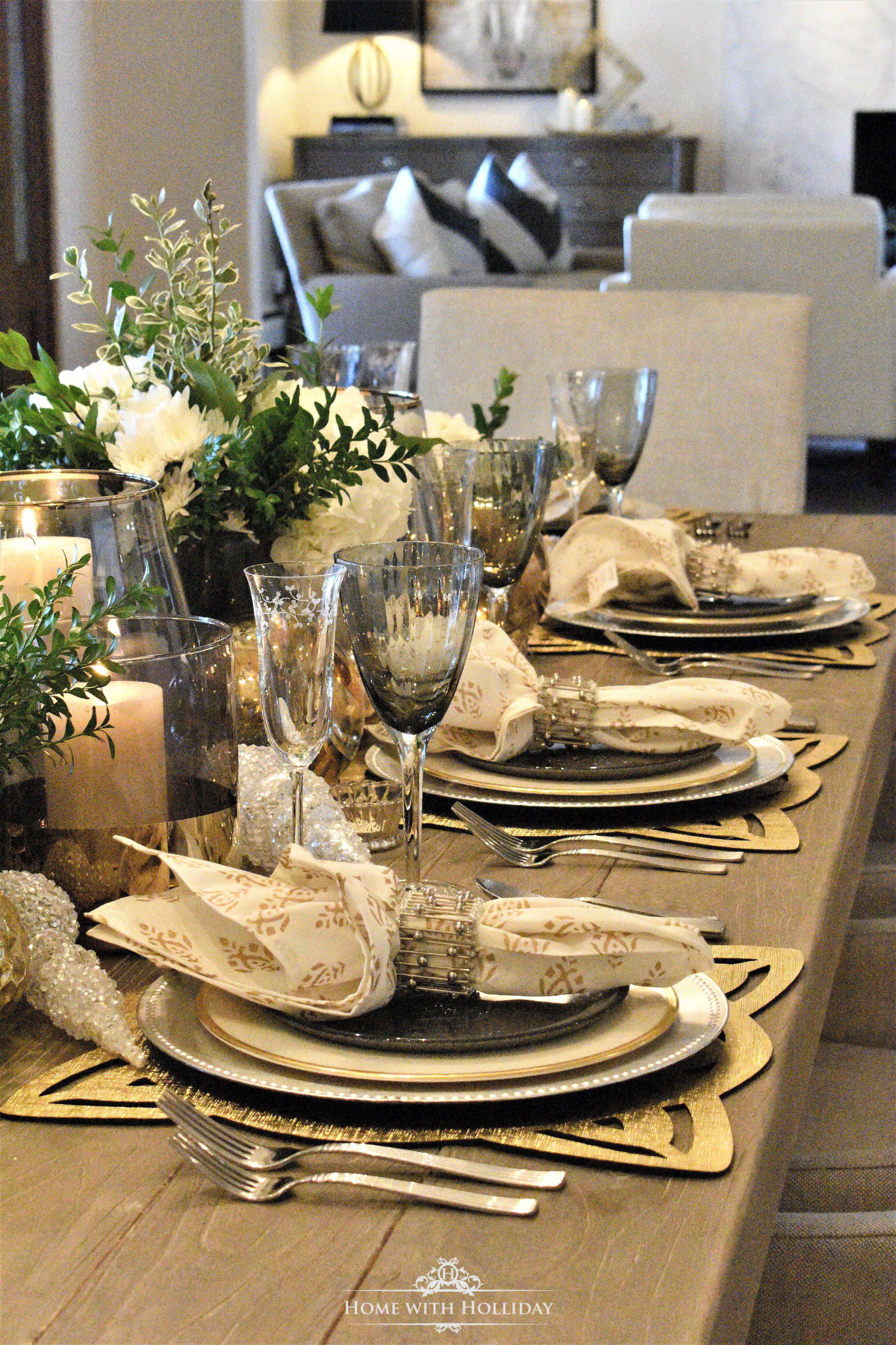 Gold and Silver Table Setting - New Yearu0027s Eve or Christmas - Home with Holliday : silver table setting - Pezcame.Com