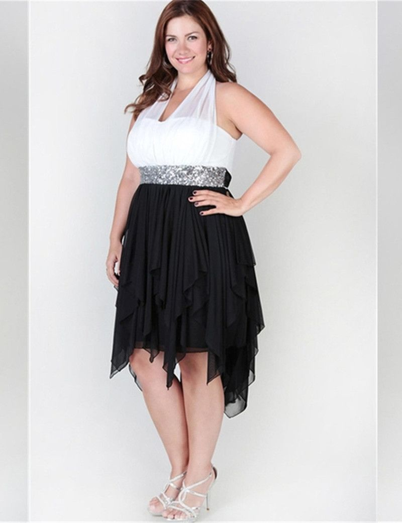 New High Low Plus Size Cocktail Dress Halter Neck Sequined Chiffon ...