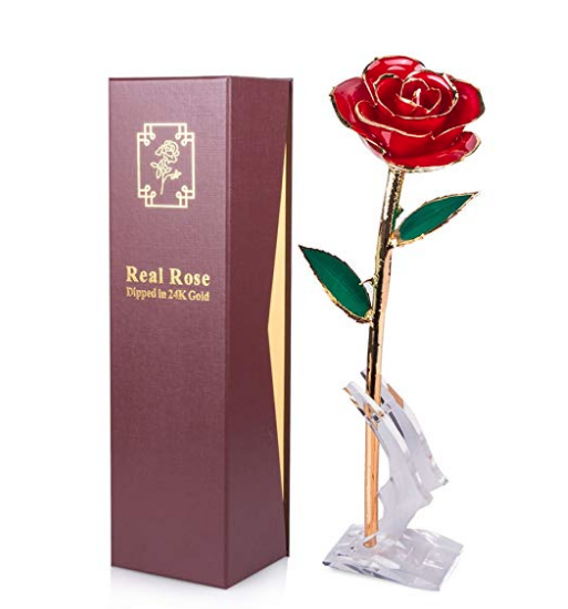24k Gold Dipped Preserved Rose Petal Earrings Free Valentine/'s Day Gift Box