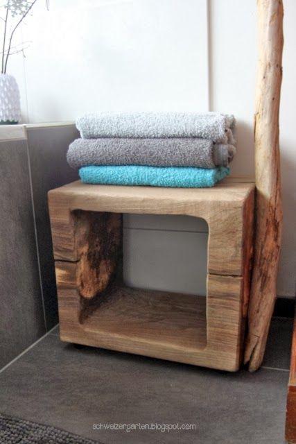 hocker nussbaumholz bad diy ideen mit holz badetuch aqua t rkis fliesen grau ein schweizer. Black Bedroom Furniture Sets. Home Design Ideas