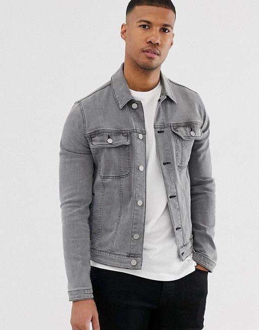 765730cd0227 DESIGN skinny western denim jacket in grey in 2019 | PYHIO Rolan ...