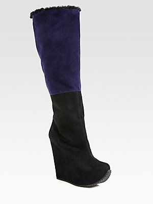d78cf5c3ce4 Yves Saint Laurent Colorblock Suede Knee-High Wedge Boots | ...less ...