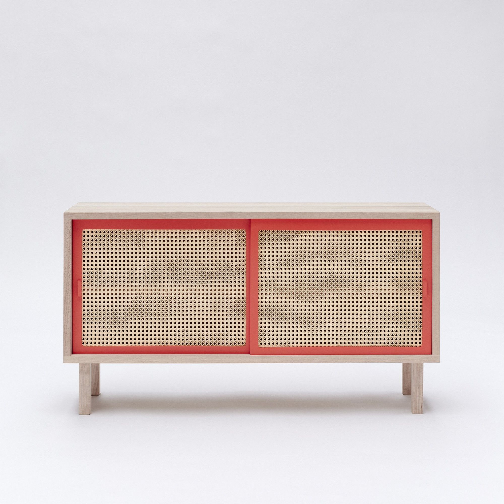 KYOTO sideboard in solid beech with sliding cane doors