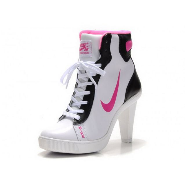 Women Nike Dunk SB High Heels Ankle Boots White Black Rose