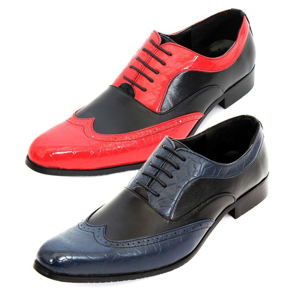 Mens Patent Faux Leather Spats Gangster Fancy Dress Smart Brogue Party Shoes