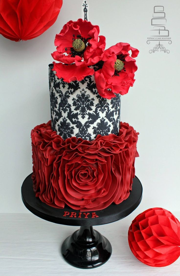 Beautiful Flower Cake Love The Red And Black Combination Flower