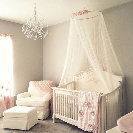 Soft And Elegant Gray And Pink Nursery: Simple Roses On Canopy Nursery Baby Room Ideas Baby Rooms