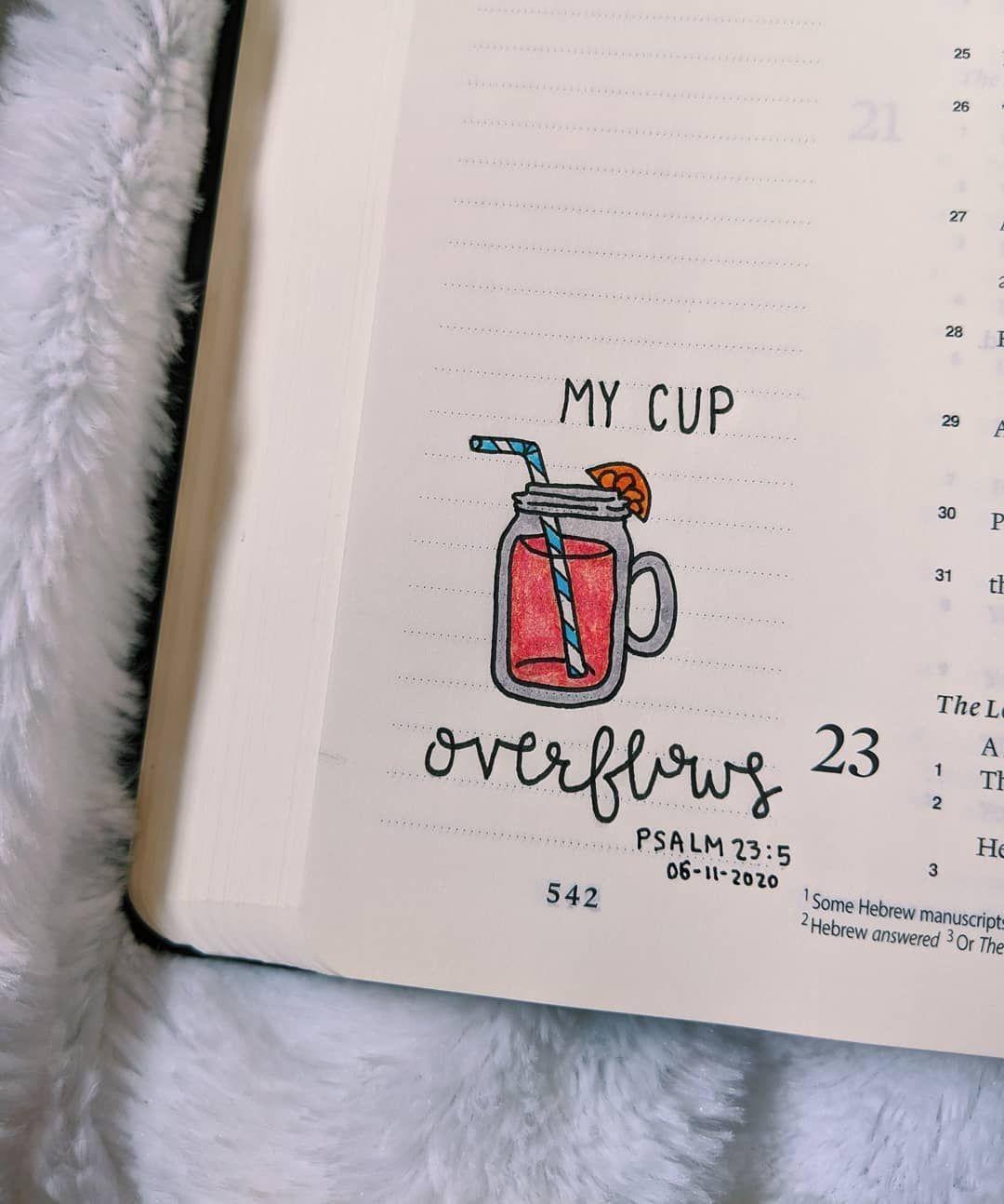 "Emma's Bible Journaling on Instagram: ""Psalm 23:5  #emmasbible #bible #biblequote #biblejournal #biblejournaling #bibleart #biblejournalingcommunity #biblejournalingideas #jesus…"""